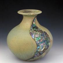 Large Abalone Inlayed Vase