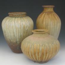 3 Large Ash Glaze Forms