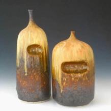Two Ash Glaze Bottles